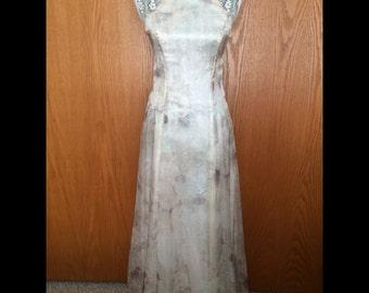 90s All That Jazz Pastel Floral Halter Gown - Vtg 7/8 - Wedding, Formal, Garden Party, Etheral, Goddess