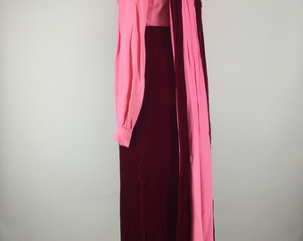 1960s Vintage Crushed Raspberry Velvet Empire Waist Dress