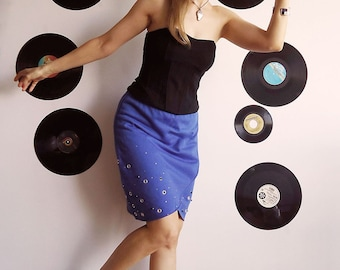 MIDNIGHT BLUE MARTINi  BondGirl Tulip Skirt with Sparkles, Beads and Eyelets in Rich Blue S/M
