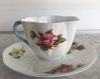 Shelley Begonias Teacup and Saucer, Shelley Tea Cup Begonia Pattern, Fine Bone China Shelley England