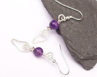 Amethyst Earrings with silver wirework leaf , Gemstone Earrings , Sterling Silver Earrings, Purple and silver