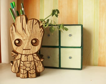 Wooden Baby Groot Holder Hand Carved Baby Groot holder Carved Baby Groot holder Stand Desk Baby Groot pencil holder Guardians of the Galaxy