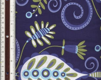 """Whimsy Doozie - Blues/White/Green - Michael Miller - 74"""" L X 44"""" W - 100% Cotton Fabric - Sold as ONE Piece Only"""