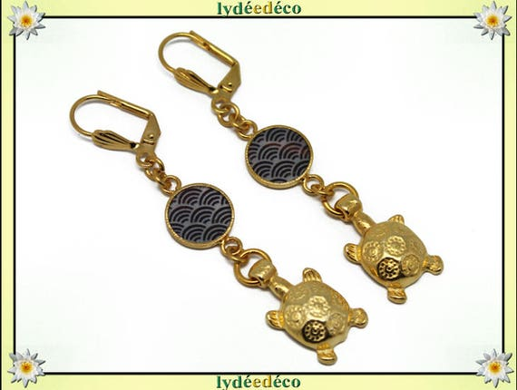 Japan brass earrings gold fine 24 k turtle waves sea: seigaiha black grey resin gift birthday mother's day thank you teacher