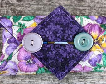 Kleenex Cover, Travel Tissue Holder, Pocket Tissue Cover, Pansies, Flowers, Purple
