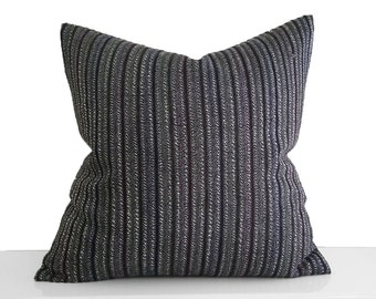 Black Striped Pillow, Rustic Decorative Pillow, Mens Throw Pillows, Textured, Black Sofa Pillow, Grey Maroon Stripes, 20x20, Rustic Decor