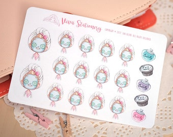 Kawaii Girl Using a Facial Mask, Hair Treatment, Decorative Stickers ~Valerie~ For your Life Planner, Diary, Journal, Scrapbook...