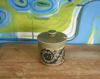 Vintage, 1970s Retro- sugar bowl green glaze made in japan