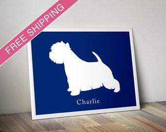 Personalized West Highland White Terrier Silhouette Print with Custom Name - Westie art, Westie gift