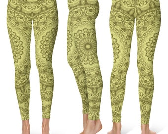 Workout Leggings Yoga Pants, Green Mandala Printed Yoga Tights for Women, Festival Clothing, Club Wear