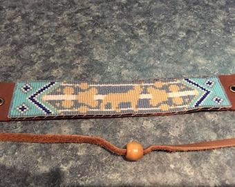 Light Blue Wolf Totem, Native American, Loom Glass Beaded, Leather Bracelet - Men's or Women's