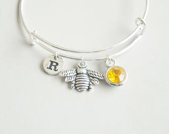 Bee Bracelet, Bee charm Gift, Bee Jewelry, Silver Bee Bracelet, Honey bracelet, Honey jewelry, Gift for her, Personalized Bangle, Animal