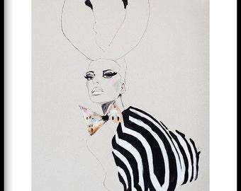 "Fashion illustration, GICLEE PRINT of acrylic painting, zebra print, makeup, black and white, dickie bow ""Zebra Girl"""