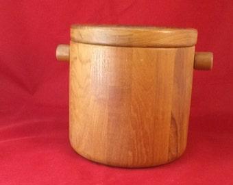 Vintage Teak Ice Bucket Minimalist & Modern