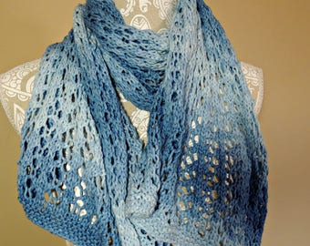 Knit scarf, Knit Shawl, Lace Scarf, Blue Scarf, Women's Scarf. Women's Scarf