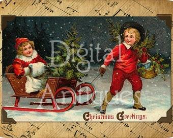 Christmas Vintage Snow Sledding Tags Digital Download