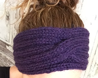 KNITTING PATTERN Rib and Cable Headband Ear Warmer Baby to Adult Sizes Ideal for Beginners Accessory