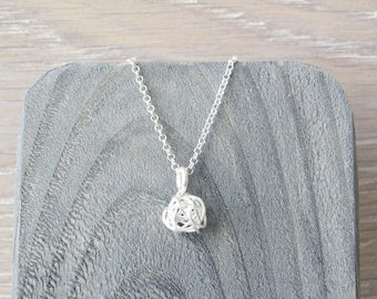 Dainty Necklace, Nickel Free Sterling Silver Love Knot Jewelry, Wire Wrapped Ball Pendant, Minimalist, Simple