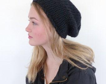 Black Chunky Knit beanie Hat black slouchy beanie Mens beanie