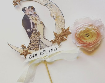 Wedding Cake Topper -Personalized -Crescent Moon - Bride and Groom - Art Deco -Gold Glitter Stars