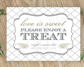 Candy Bar Sign  |  Editable DIY Printable  |  Love is Sweet Take a Treat | Cake and Anvil Grey