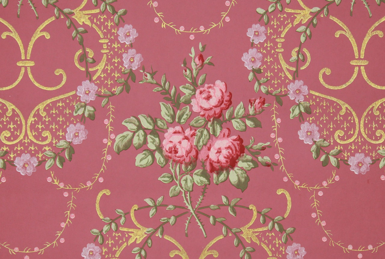 1900s Vintage Antique Wallpaper Pink Rose Bouquets With Gold