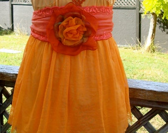 Womens Vintage Style Slip Dress Petticoat orange Hand Dyed Bohemian with Two Belts