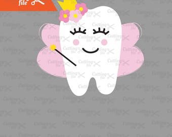 Tooth fairy SVG, DXF, PNG, Eps Cutting files,  Tooth Svg, Tooth Clipart, Cute Teeth SVGs for Tooth Fairy Bags, for Silhuette cricut