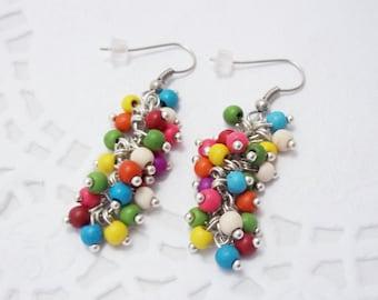 Fall earrings bunch earrings gemstone jewelry cluster earrings funny earrings gemstone earrings colorful earrings turquoise earrings women
