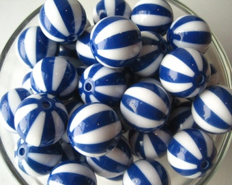 CLEARANCE Blue Striped Bead, 20mm Beach Ball Bead, 10 pcs Striped Gumball Bead, Chunky Watermelon Bead, Bubblegum Bead, Necklace Bead