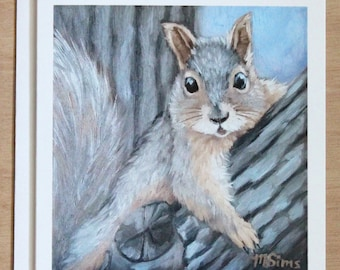 Squirrel - gray squirrel - squirrel notecard - squirrel art - stationary - paper goods - thank you notes