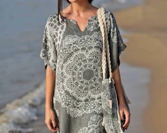 Beach Cover up+beach bag set I FREE SHIPPING USA I Short sleeve Tunic+beach bag set I Beach Wear I Swim Cover up I Swim Cover Kimono I