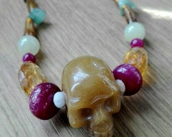 Skull Necklace, caramel skull, stones skull necklace, tribal jewelry, skull jewelry, golden, brown sugar skull, natural stones, ruby