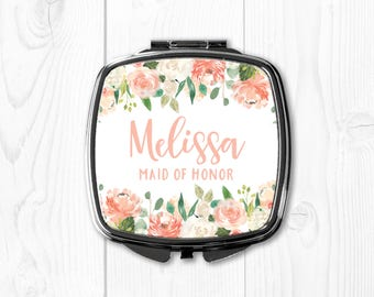 Peach Maid of Honor Gift Sister Wedding Gift for Maid of Honor Personalized Compact Mirror Maid of Honor Gift Purse Mirror Floral Cute