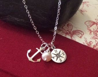 Graduation, Anchor, College Graduation, High School Graduation, Graduation gift, compass necklace, go confidently, gift for her, friendship