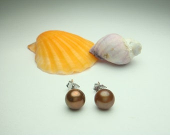Christmas Special- Pearl Earrings-AAA 6.0-7.0 mm Chocolate Brown Freshwater Pearl Stud Earring-Sterling Silver Setting