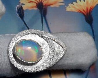 Ethiopian Opal Ring, Matte Finish Ring, 925 Silver Ring, Opal RIng, Ethiopian Opal Gemstone, Desginer Ring, Ethiopian Opal Jewellery, Ring