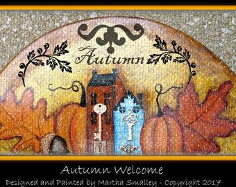 Apple Tree Cottage Original Design E Pattern - Welcome Autumn Door Crown