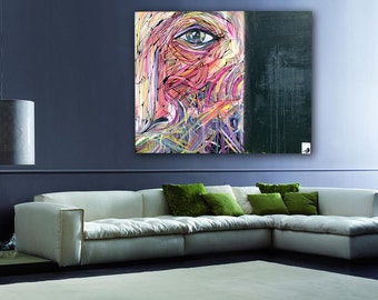 """Bird's Eye View - HUGE Original Modern Abstract Contemporary Art Painting - Size: 48 x 60"""" Acrylic on Canvas by A.J. Wesolek"""