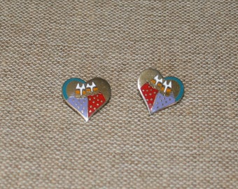Valentine Cat Heart Post Earrings by Laurel Burch plus  Free USA Shipping
