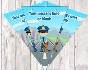 BP91 Police man dog personalised flag bunting x 10 flags with ribbon