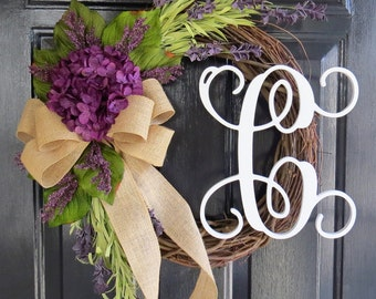 Monogram Front Door Wreath. Purple Hydrangea and Wildflower Wreath. Grapevine Wreath.