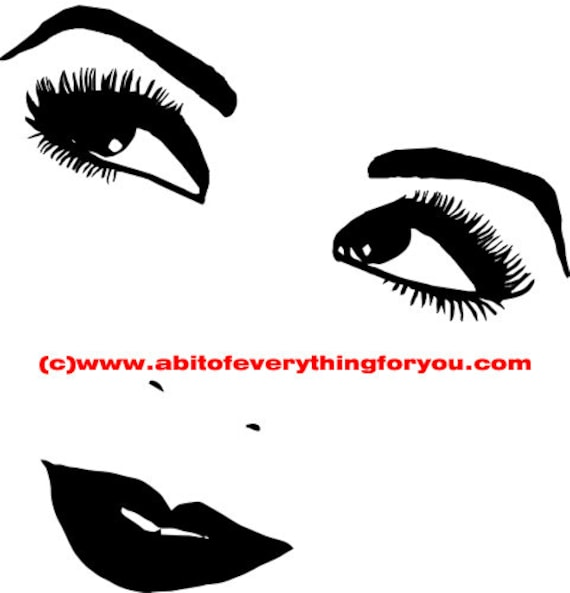 happy eyes lips womans face clip art png printable art digital download image graphics makeup beauty black and white artwork