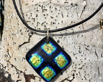 Geometric dichroic fused glass pendant