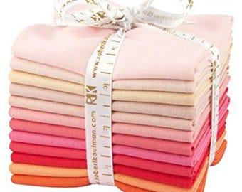 Kona Cotton Solids Fat Quarter Bundle - Blushing Bouquet Palette - Robert Kaufman Fabrics