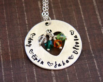 Heart Cutout Necklace - Hand Stamped - Birthstone Pendant - Mother or Grandmother Necklace