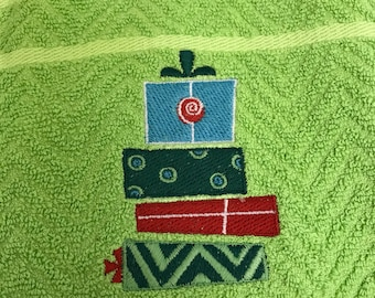 Kitchen Towel - Embroidered Christmas Presents