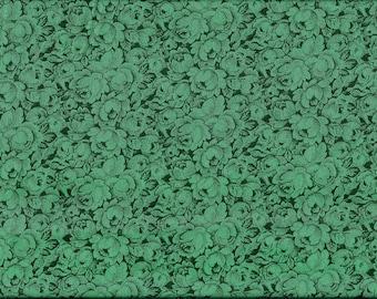 Tissu coton vert émeraude motif roses ton sur ton pour patchwork et loisirs créatifs