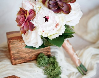 Peony and Succulent Bouquet