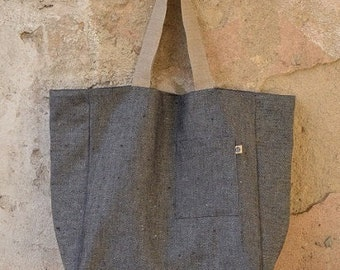 Large Heavy LINEN Tote Bag, Shopping Bag, Market Bag, Beach Bag, Reusable Bag